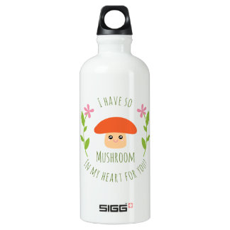 I Have So Mushroom In My Heart For You Pun Humor Water Bottle