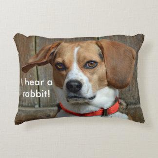 I Hear A Rabbit! Beagle Hound Decorative Cushion