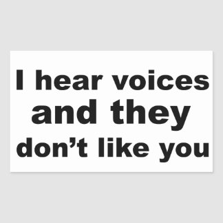 I hear voices and they don't like you rectangular sticker