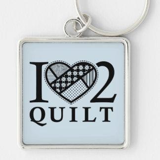 I Heart 2 Quilt by FiberFlies Key Ring