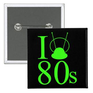 I Heart 80s Retro 2 Inch Square Button
