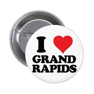 i heart and love grand rapids, michigan 6 cm round badge