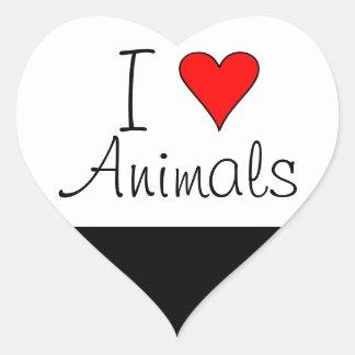 I heart animals heart sticker