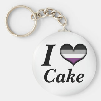 I Heart Asexual Cake Basic Round Button Key Ring