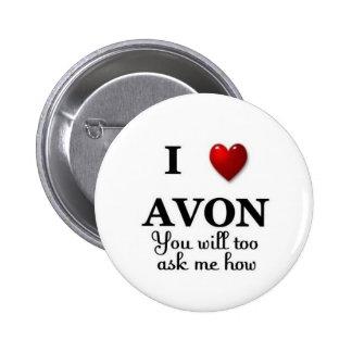 i heart avon ask me how 6 cm round badge