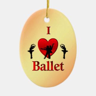 I Heart Ballet Christmas Ceramic Ornament