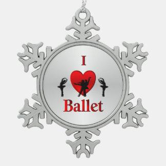 I Heart Ballet Silver Snowflake Pewter Christmas Ornament