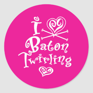 I Heart Baton Twirling Classic Round Sticker