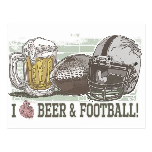 I Heart Beer and Football Postcards