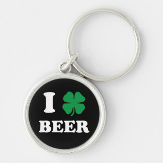 I Heart Beer Black Silver-Colored Round Keychain