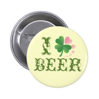 I Heart Beer St. Patricks Day Button