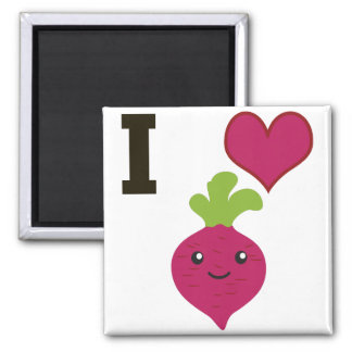 I Heart Beets Square Magnet