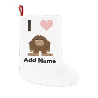 I heart bigfoot small christmas stocking