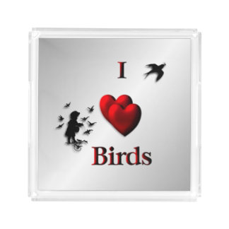 I Heart Birds Silver Acrylic Tray