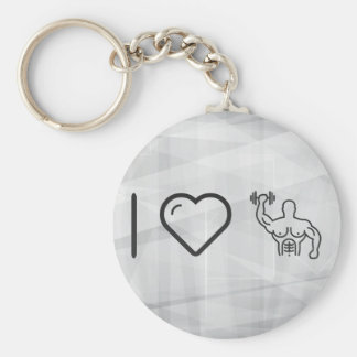 I Heart Body Buildings Basic Round Button Key Ring