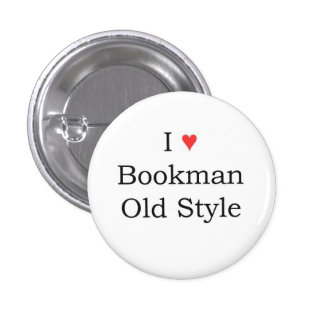 I heart Bookman Old Style 3 Cm Round Badge