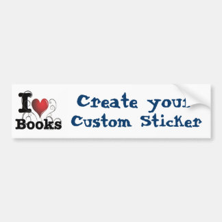 I Heart Books I Love Books! Swirly Curlique Heart Bumper Sticker