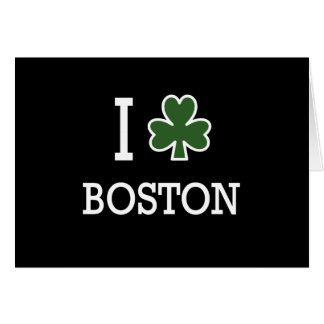 I Heart Boston (green clover) Greeting Card