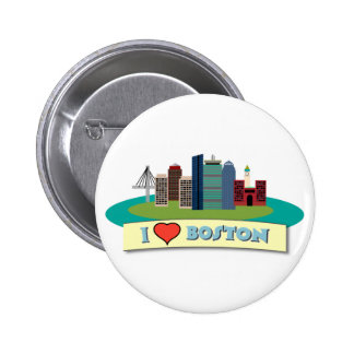 I Heart Boston Pinback Buttons
