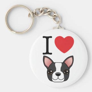 I Heart Boston Terriers Key Ring