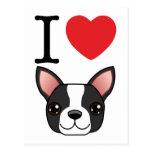 I Heart Boston Terriers Postcards