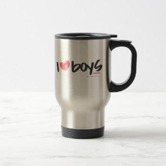 I Heart Boys Pink 15 Oz Stainless Steel Travel Mug