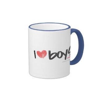 I Heart Boys Pink Ringer Mug