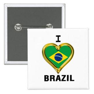 I heart  BRAZIL Flag 15 Cm Square Badge