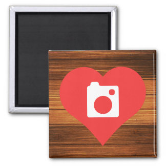 I Heart Cameras Icon Square Magnet