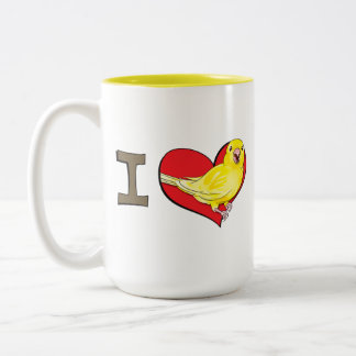 I heart canaries Two-Tone coffee mug