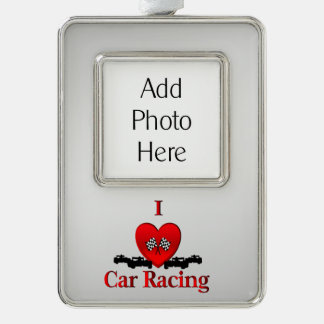 I Heart Car Racing Silver with Custom Photo Silver Plated Framed Ornament
