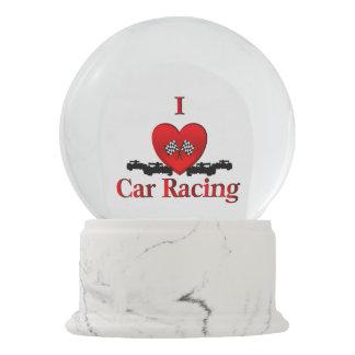 I Heart Car Racing Snow Globe