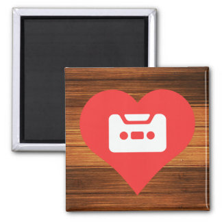 I Heart Cassettes Square Magnet