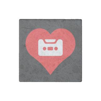 I Heart Cassettes Stone Magnet