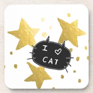 I Heart CAT Gold Stars Coaster