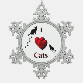 I Heart Cats Pewter Snowflake Ornament