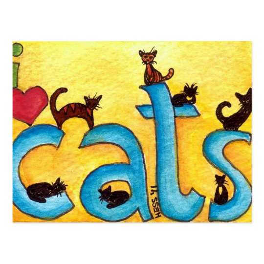 I Heart Cats postcards