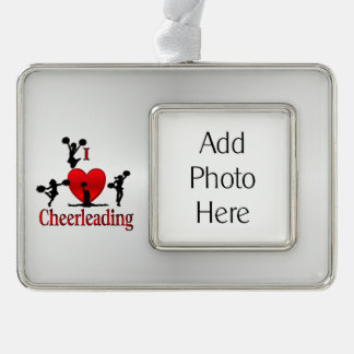 I Heart CheerLeading with Personal Photograph Silver Plated Framed Ornament