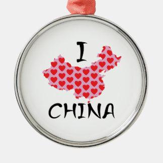 I heart China map Metal Ornament