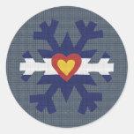 I Heart Colorado Flag Snowflake Stickers