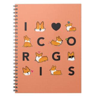 I Heart Corgis Notebook   CorgiThings