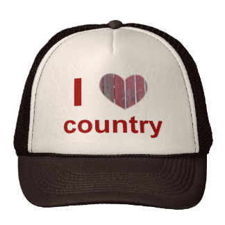i heart country mesh hat