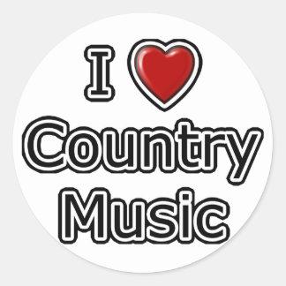 I Heart Country Music Round Sticker