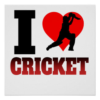 I Heart Cricket Poster