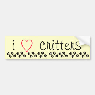 I Heart Critters Bumper Sticker