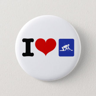 I Heart Curling 6 Cm Round Badge