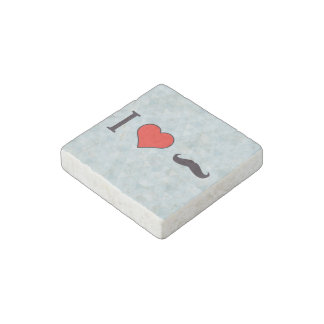 I Heart Curly Mustache Stone Magnet