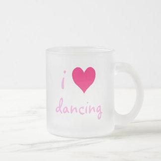 i heart dancing frosted glass coffee mug