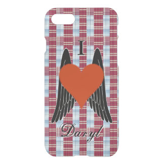 I Heart Daryl w/ plaid background & black wings(2) iPhone 7 Case