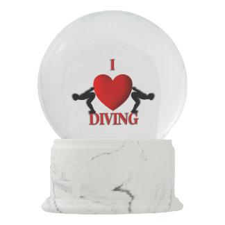 I Heart Diving Snow Globe